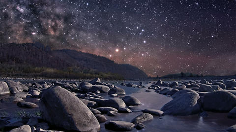 Starry night over the river Footage