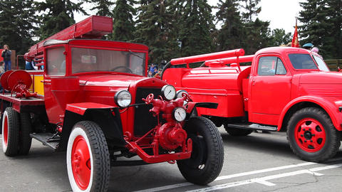 Retro fire trucks ZIS-5 and GAZ-51 . Russia Live Action