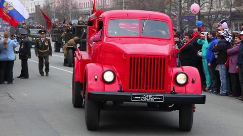 Retro fire truck GAZ-51. Russia Footage