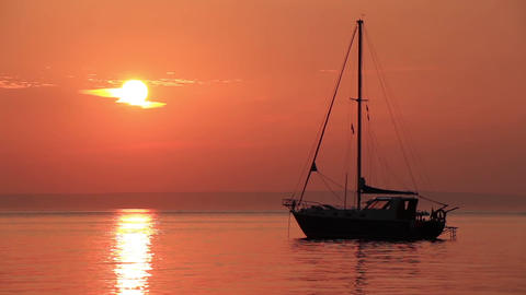 Sunset Sailboat 1 stock footage
