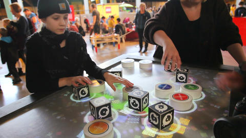 Iteresting digital gameboard with interactive cube Footage