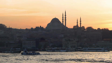 Istanbul Suleymaniye Mosque at sunset Footage
