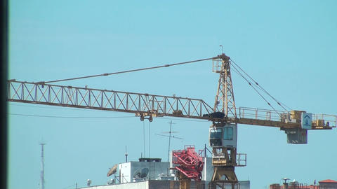 Workers On A Construction Site Crane Operating, Ex stock footage