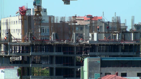 Workers On A Construction Site, Extreme Long Shot, Footage
