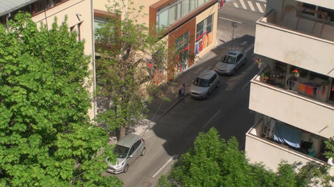 Aerial View Of A Street With Traffic, Skyline, Dow stock footage