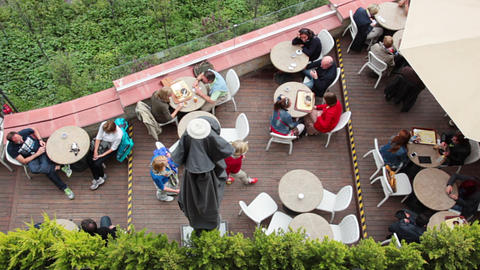 Cafe on the Balcony. View from above ビデオ