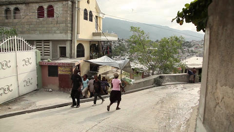 Port Au Prince Street Tilt Shot stock footage