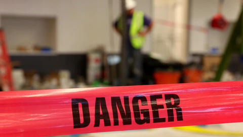 Danger Tape Construction stock footage