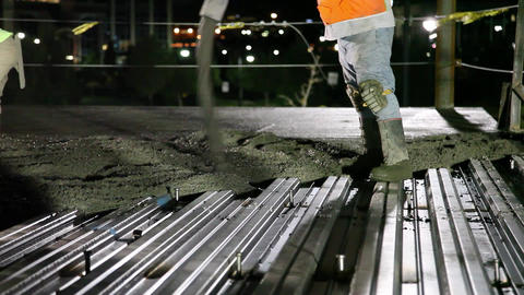 Cement Pour Night With Lights stock footage
