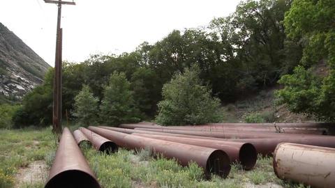 Rusty pipes tilt Footage