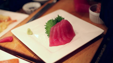 Sushi Raw Ahi stock footage