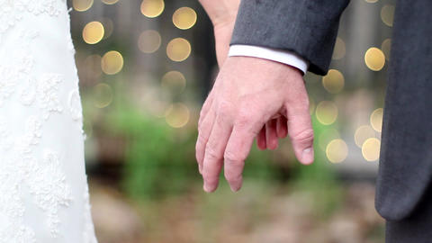 Wedding Hand Hold Bokeh stock footage
