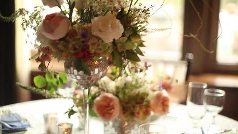 Wedding table dolly tilt shot Footage