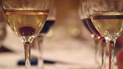 Wine glasses at tasting Footage