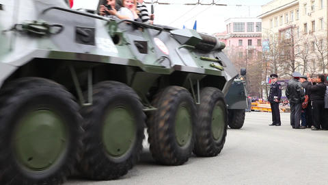 Armored personnel carriers BTR-80 is moving along  Footage