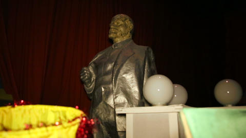 Sculpture, monument to Vladimir Lenin in the wareh Footage
