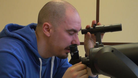 Astronomer configures the telescope Footage
