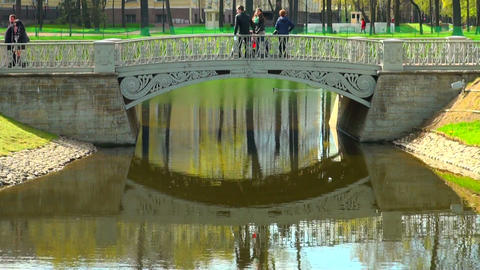 The bridge over the river in the Mikhailovsky gard Footage