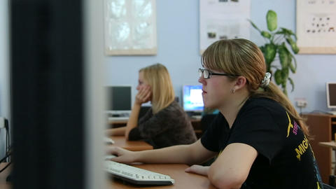 Students at the computer Footage