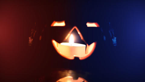 pumpkin in lights Footage