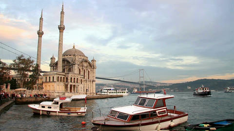 Ortakoy, Istanbul at sunset Footage