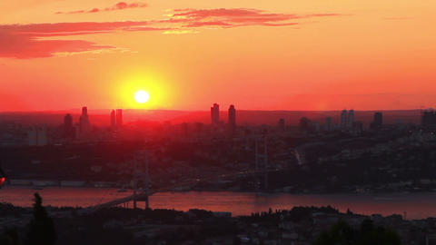 Istanbul City on Sunset. Timelapse Footage