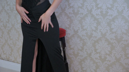 blonde woman wearing black dress Footage