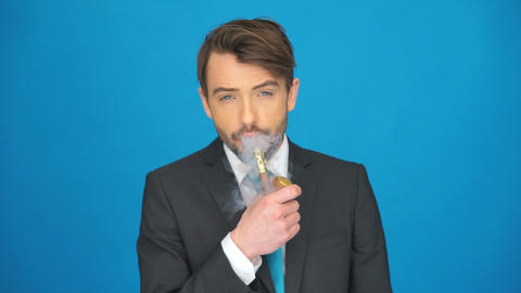 man smoking e-cigarette Footage
