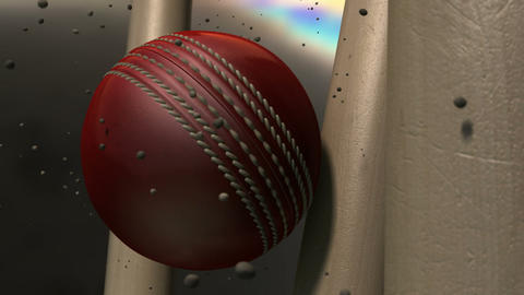 cricket ball hitting wickets closeup animation Animation