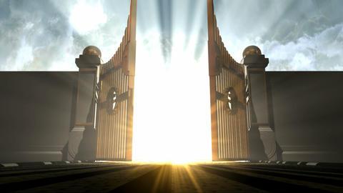 heavens gates opening walk towards Animation