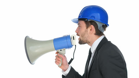 Businessman speaking into a megaphone Footage
