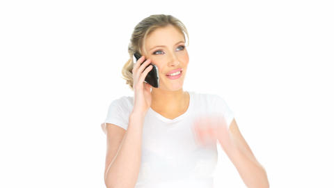 happy woman having mobile phone conversation Footage