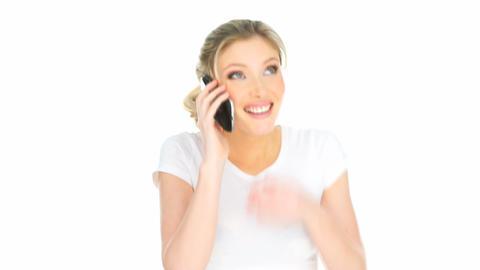 happy woman having mobile phone conversation Stock Video Footage