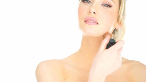 close-up blonde woman applying her lipstick makeup Footage