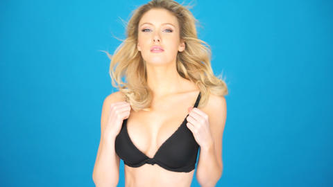 glamour model wearing black bra Live Action
