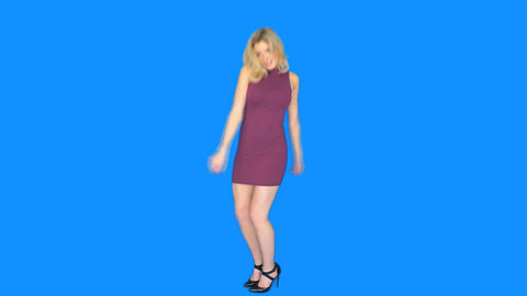 sexy blonde woman dancing on blue Footage