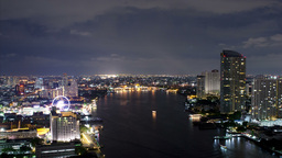 Bangkok Night Time Lapse WIth The Chao Phraya - 4k Footage