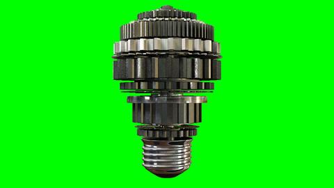 cogwheel lightbulb rotating green screen Stock Video Footage