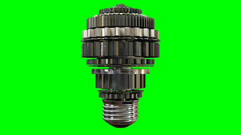 Cogwheel Lightbulb Rotating Green Screen stock footage