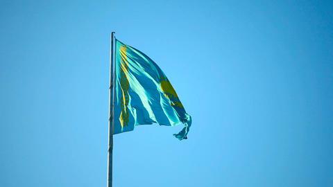 Kazakhstan flag Footage