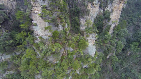 Flight over Wulingyuan mountain in China Footage