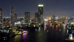 Bangkok Night Time Lapse View of Bridge - 4k Footage