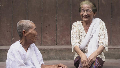 Portrait of real Asian people with emotions and feelings. Old Cambodian women lo Live Action