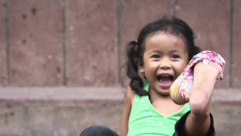 Portrait of real Asian people with emotions and feelings. Young Cambodian girl,  Footage