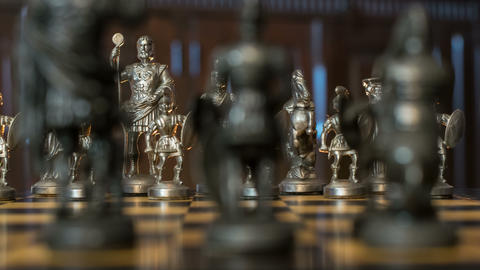 4k UHD chess figures arc dolly DOV bluish 11353 Footage