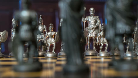 4k UHD Chess Figures Dolly DOV Blue Backgrou 11355 stock footage