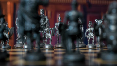 4k UHD chess figures dolly DOV natural backg 11357 Footage