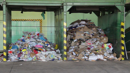 Recycling center . Sorting plastic bags and cardbo Live Action