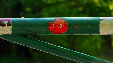 Barrier With Stop Sign stock footage
