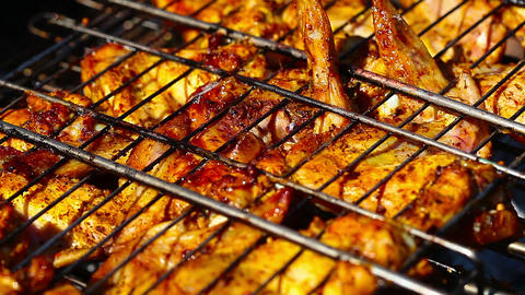 Barbecue. Chicken On The Grill stock footage